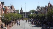 A look down Main Street towards Disneyland's Railroad Station