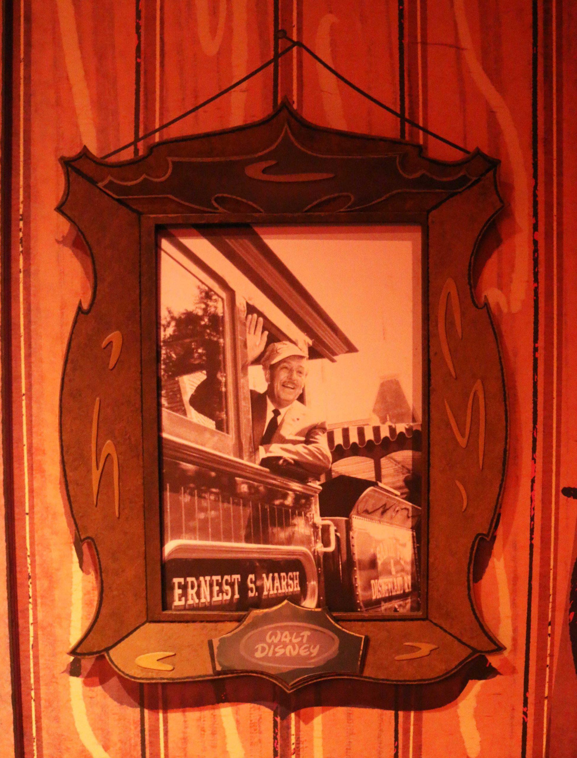 Mickey and Minnie's Runaway Railway – A photo of Walt hangs near the exit